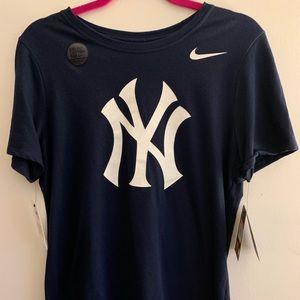 Navy and White NY Yankees Dry Fit Teeshirt